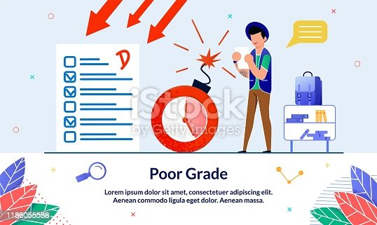 Flat Banner, Poor Grade, Bad Result, Cartoon. Failure Exam Disappointing for Student. Guy Watching Negative Test Near an Exploding Bomb. Guy Hat with Tattoo in Shock from Low Score for Test.