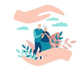 Flat Banner Protection for Senior Family Members. Poster Care for Family Members. Flyer Elderly Parents are Standing in Park, Reconciliation Large Female Hands. Vector Illustration.