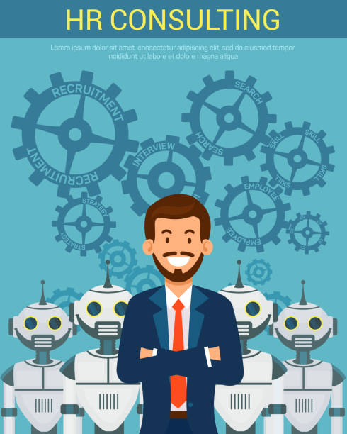 Flat Banner Recruitment Agency PR Consulting. Flat Banner Recruitment Agency PR Consulting. Vector Illustration on Blue Background in Center Young Happy Man in Suit Folded Arms over Chest Behind Robots Helpers from above Spinning Gears. recruiter stock illustrations