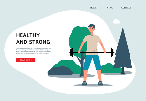 Flat banner template with cartoon man lifting weights in summer nature