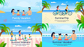 Flat Advertising Banner Set. Family Summer Vacation. Cartoon Parents and Children Scooting, Swimming in Pool or Sea under Palms. Young Married Couple Cycling. Vector Travel, Trip, Weekend Illustration