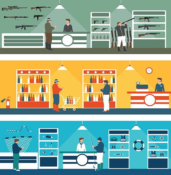flat banners shop supermarket flat banners shop supermarket in vector format eps10 gun shop stock illustrations