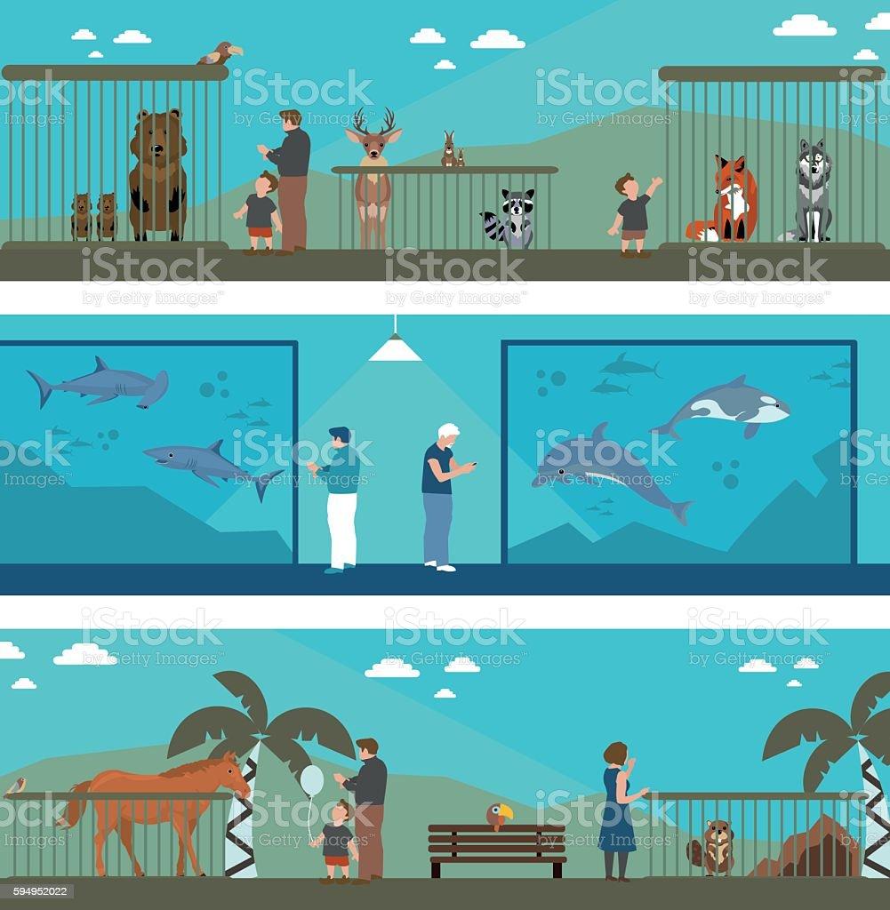 flat banners zoo vector art illustration