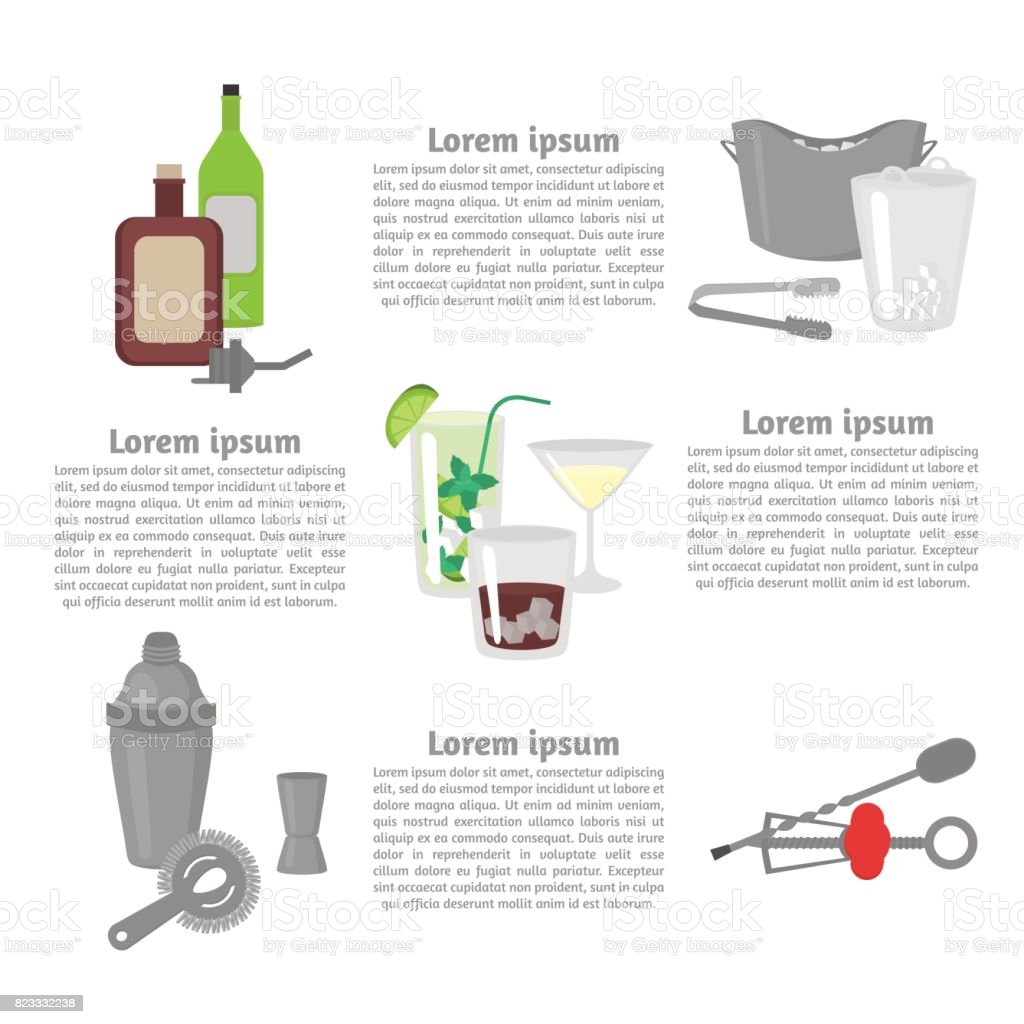 Flat Barman Mixing, Opening and Garnishing Tools. Bartender equipment Shaker, Opener, Ice Buckets, Bar spoon. Isolated instrument icon. Flat classic alcohol cocktails vector art illustration