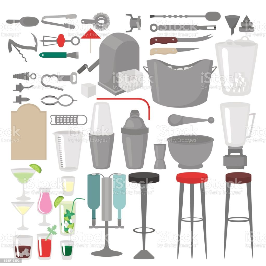 Flat Barman Mixing, Opening and Garnishing Tools. Bartender equipment. Isolated instrument icon vector art illustration