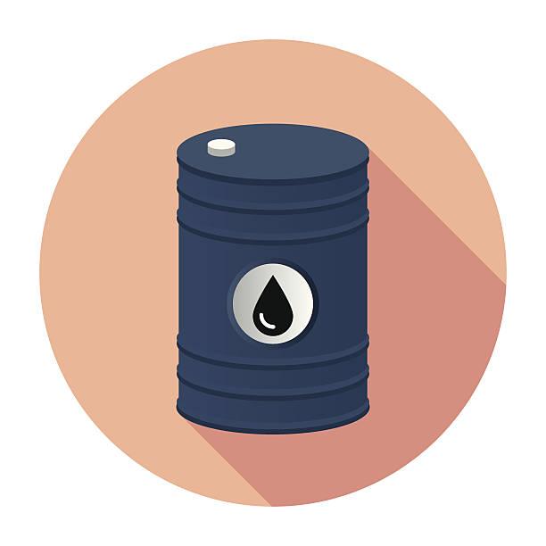 Flat Barrel Icon Flat & Long Shadow Barrel Icon oil drum stock illustrations