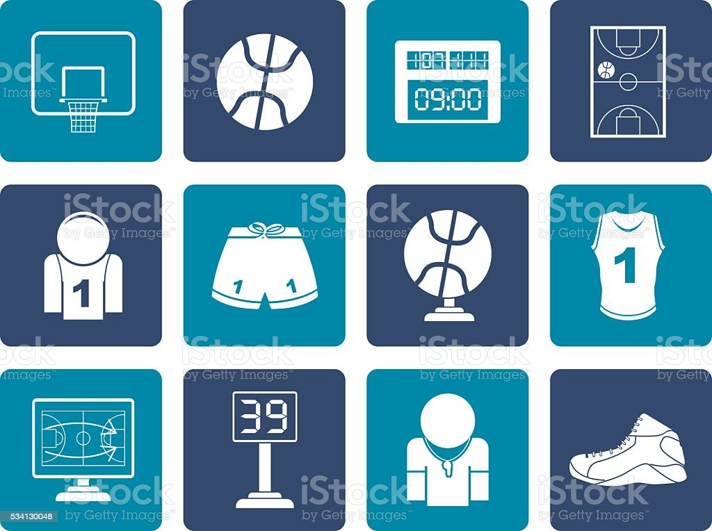 Flat Basketball and sport icons vector art illustration