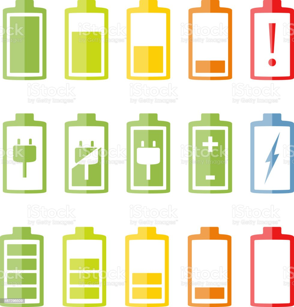 Flat Battery Icons Set vector art illustration