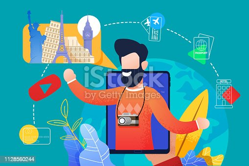 istock Flat Bearded Man Talks about Traveling with Tablet 1128560244