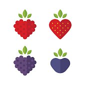 Heart shaped berries icon set. Raspberry, blueberry, strawberry, blackberry. Flat stylized vector illustration.