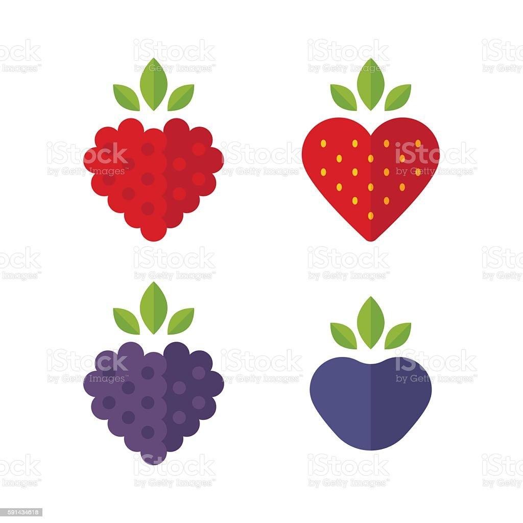 Flat berries icons vector art illustration