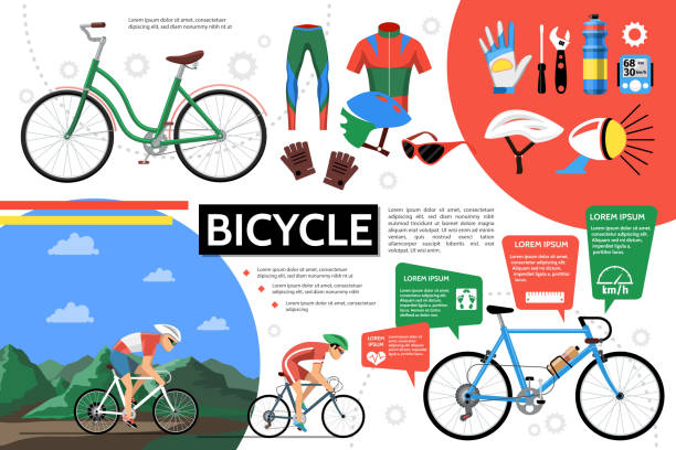ilustrações, clipart, desenhos animados e ícones de modelo de bicicleta plana infográfico - ciclismo