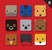 Flat Big Animal Faces Application Icon Cartoon Vector Set 6