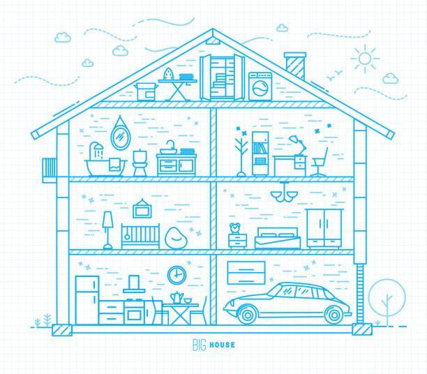 flat big house silhouette blue - waschküchendekorationen stock-grafiken, -clipart, -cartoons und -symbole