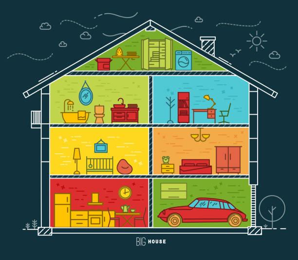 flat big house silhouette night - waschküchendekorationen stock-grafiken, -clipart, -cartoons und -symbole