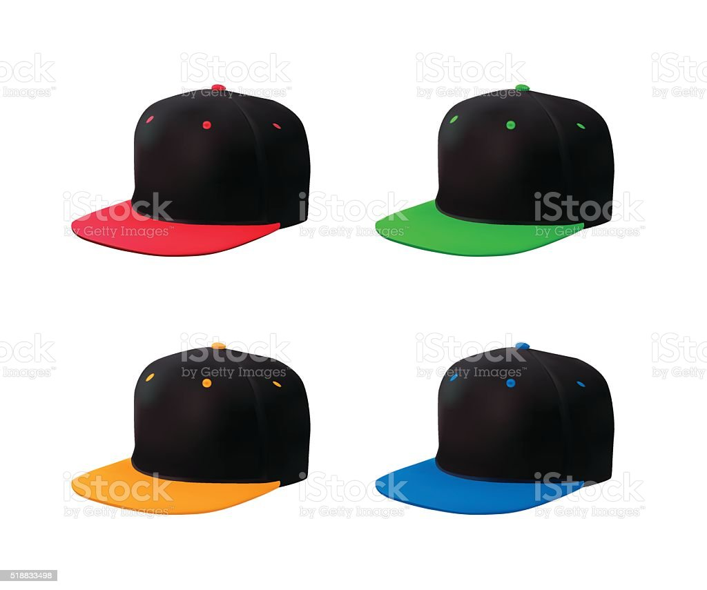 Flat bill cap set perspective view vector art illustration