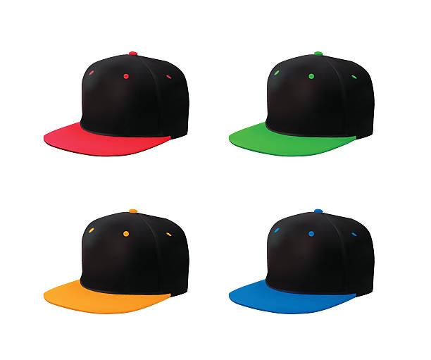 stockillustraties, clipart, cartoons en iconen met flat bill cap set perspective view - flat cap
