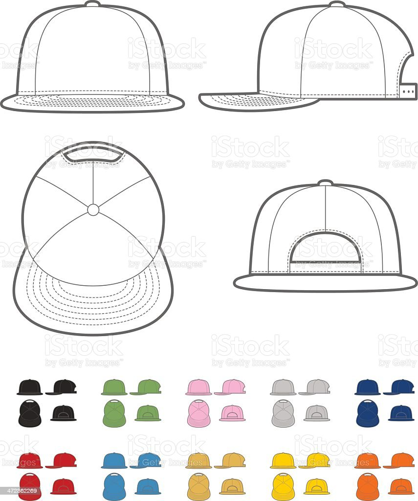 Flat bill cap vector art illustration