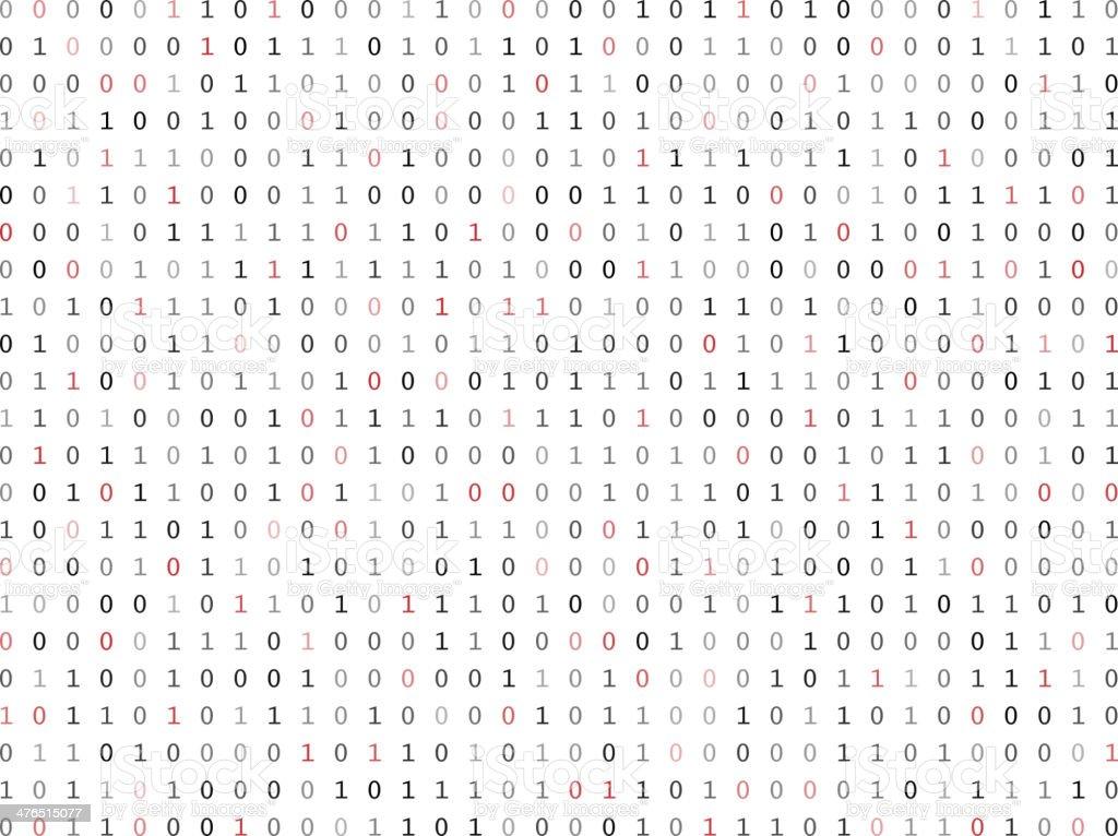 Flat binary code screen vector art illustration