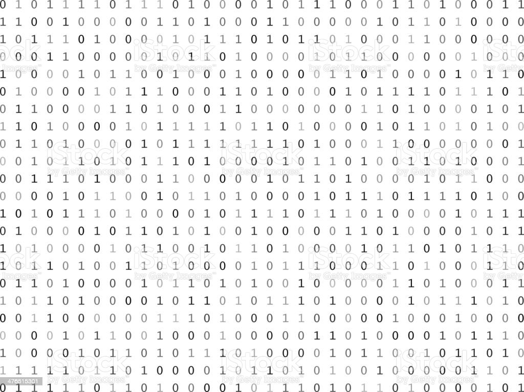 Flat binary code screen vector art illustration