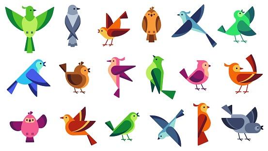 Flat birds. Flying chickadees bird, tweeting dove and wild sparrow. Wildlife animals vector illustration set