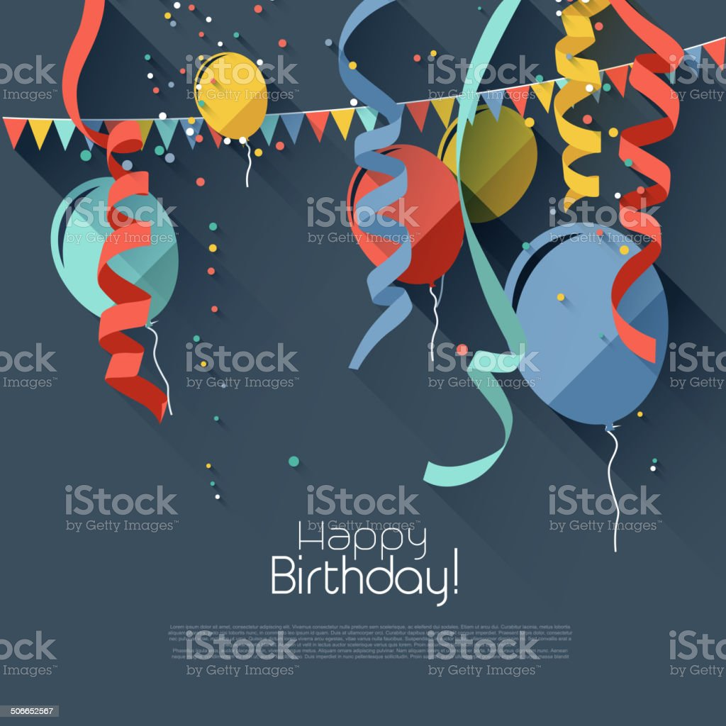Flat birthday background vector art illustration