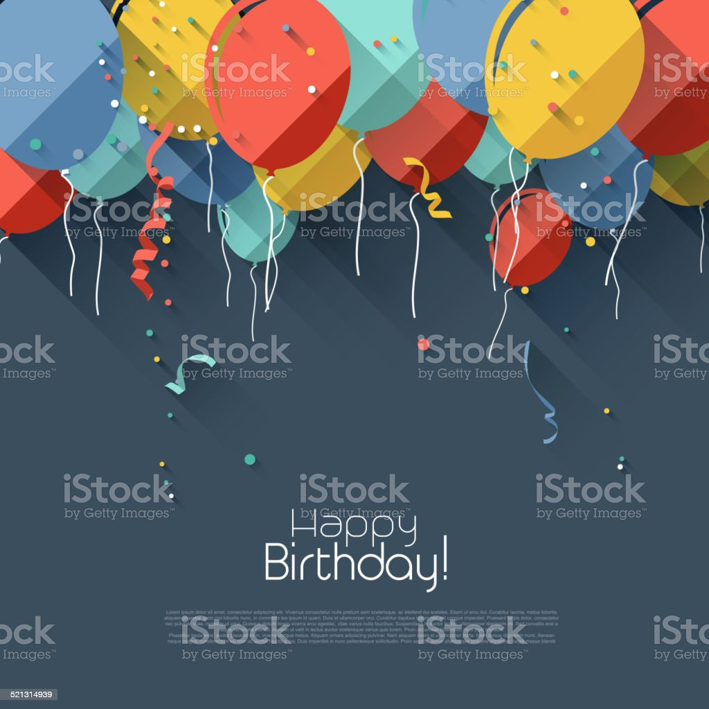 Flat birthday background vector art illustration