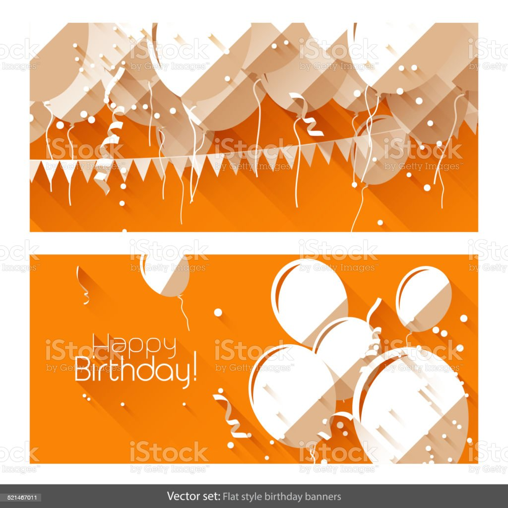Flat birthday banners vector art illustration