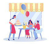 Birthday Party in Street Restaurant or Cafe with People Cartoon Characters. Visitors Sitting at Decorated with Balloons Table. Waitress Greeting them with Birthday Cake. Flat Vector Illustration.