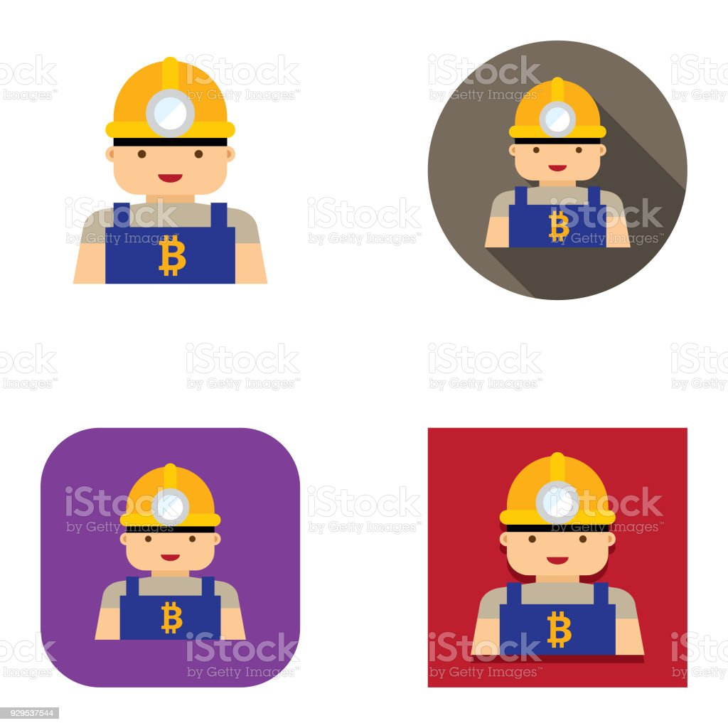 Flat Bitcoin Miner Icons Kalauful Series Stock Illustration - Download  Image Now