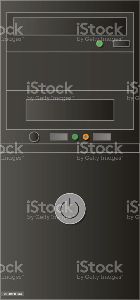 Flat black and gray case for computer vector art illustration