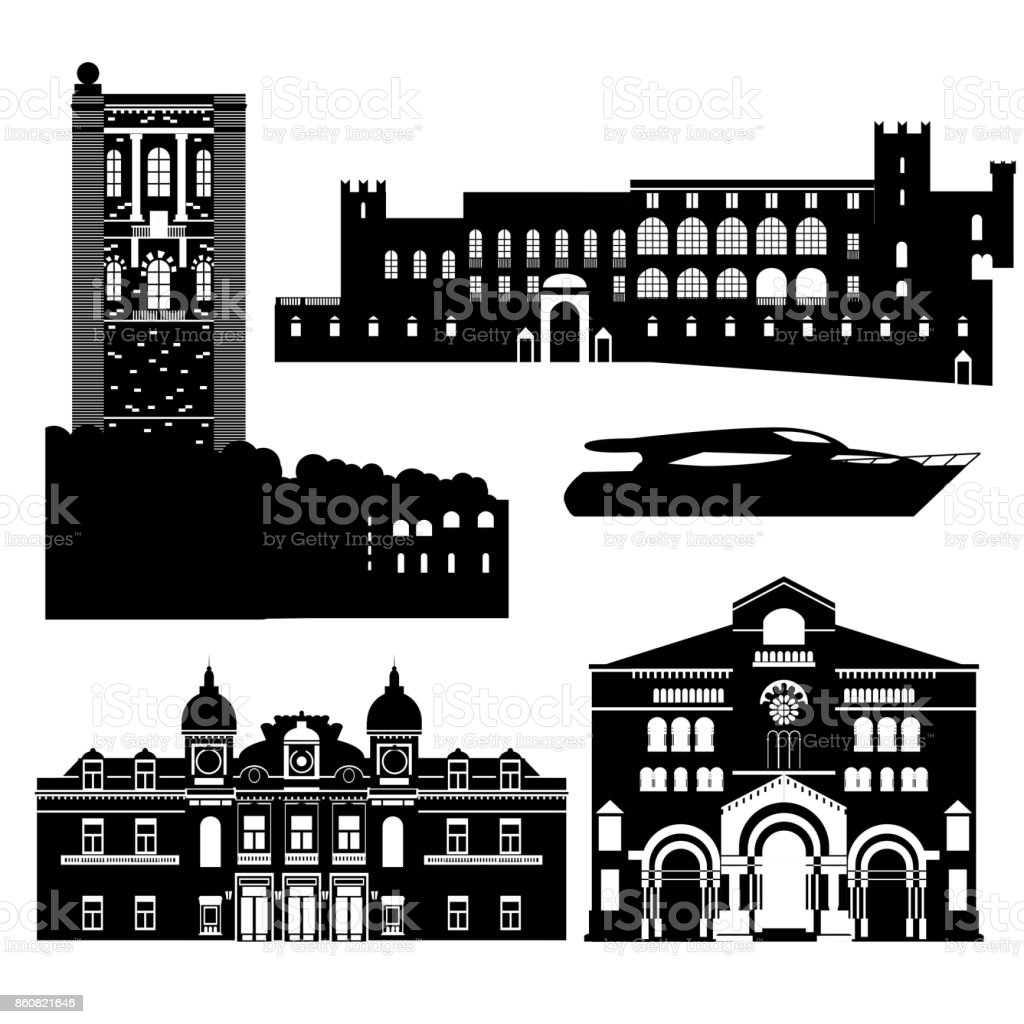Flat black and white building of Monaco country, travel icon landmarks in Monte Carlo. City architecture. World travel vacation sightseeing European collection. vector art illustration