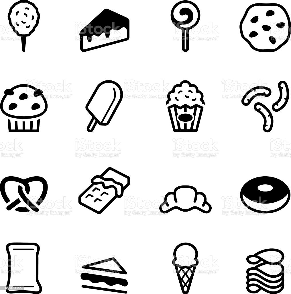 Flat black and white junk icons vector art illustration