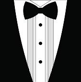 Flat black and white tuxedo bow tie