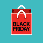 flat black friday shopping bag red on blue