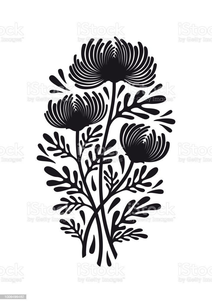 Flat black graphic drawing of bouquet of flowers of chrysanthemum flat black graphic drawing of bouquet of flowers of chrysanthemum plant with leaves silhouette decorative mightylinksfo
