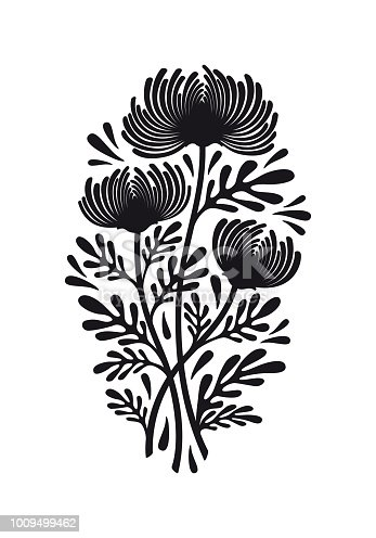 Flat black graphic drawing of bouquet of flowers of chrysanthemum flat black graphic drawing of bouquet of flowers of chrysanthemum plant with leaves silhouette decorative illustration vector isolated on background for mightylinksfo