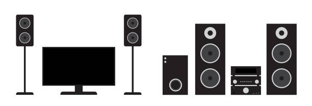 Flat black home cinema and stereo system set. Vector illustration of tv, receiver, subwoofer and speakers. Flat black home cinema and stereo system set. Vector illustration of tv, receiver, subwoofer and speakers stereo stock illustrations
