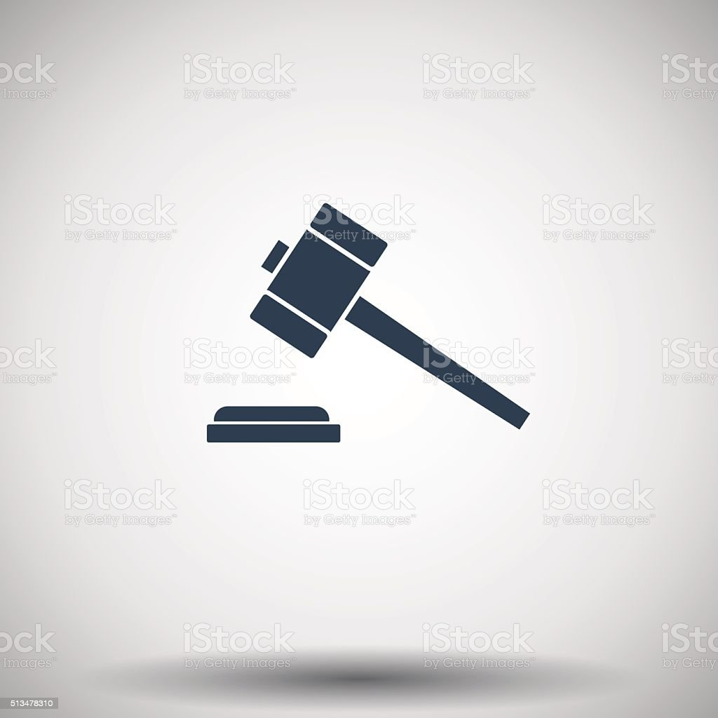 Flat black Law Gavel icon vector art illustration
