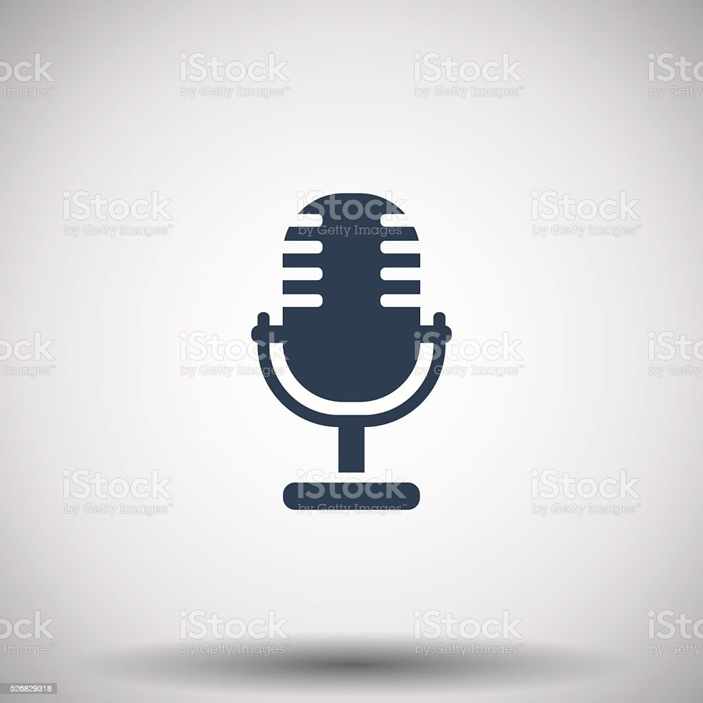 Flat black Microphone icon vector art illustration