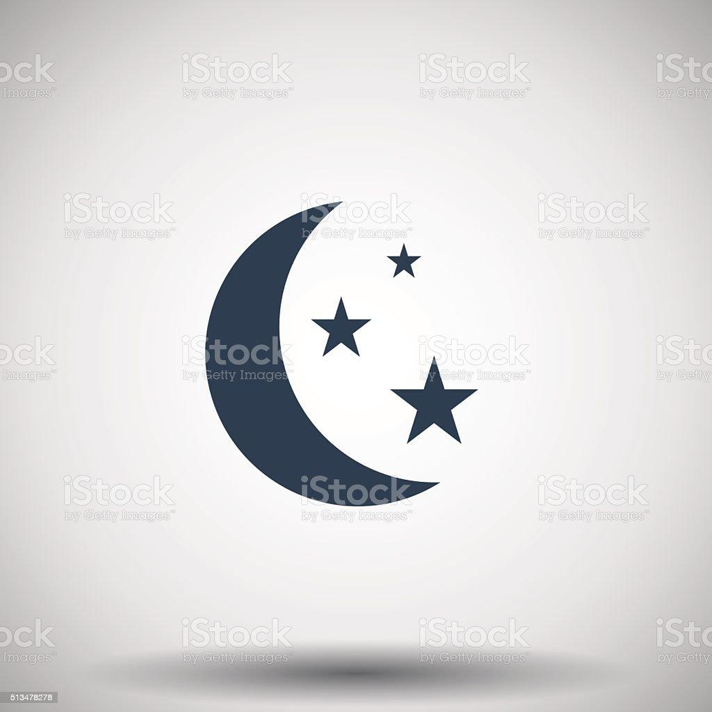 Flat black Moon And Stars icon vector art illustration