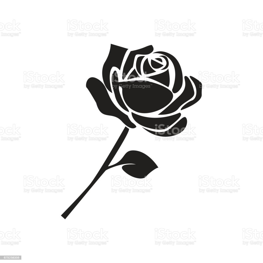 flat black rose icon stock vector art more images of black color 675258356 istock. Black Bedroom Furniture Sets. Home Design Ideas