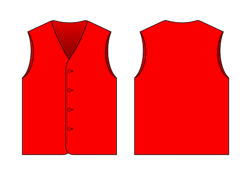 Flat Blank Red Vest Template Vector On White Background.