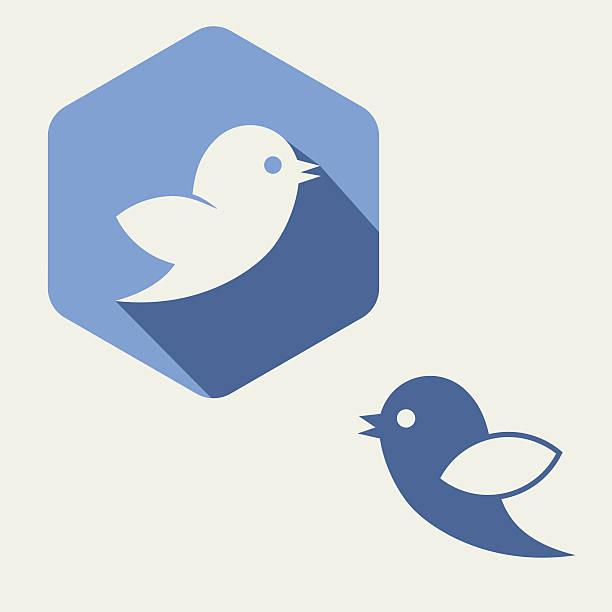 flat blue,  bird twitter social media web or internet icon - twitter 幅插畫檔、美工圖案、卡通及圖標