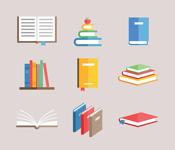 flat book symbols vector set vector art illustration