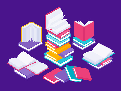 Flat books concept. Literature school course, university education and tutorials library illustration. Vector group of books in stack