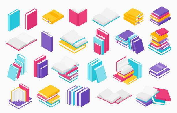 Flat books icons. Stack of open and close books, magazines textbooks and brochures, vector group of books for learning and education Flat books icons. Stack of open and close books, magazines textbooks and brochures, vector group of books for learning and education in library encyclopaedia stock illustrations
