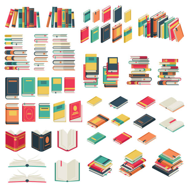 Flat books set. Book school library publishing dictionary textbook magazine open closed page studying vector collection Flat books set. Book school library publishing dictionary textbook magazine open closed page studying vector icons book icons stock illustrations