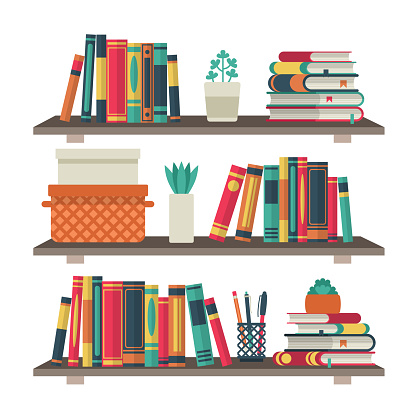 Flat bookshelves. Shelf book in room library, reading book office shelf wall interior study school bookcase vector background