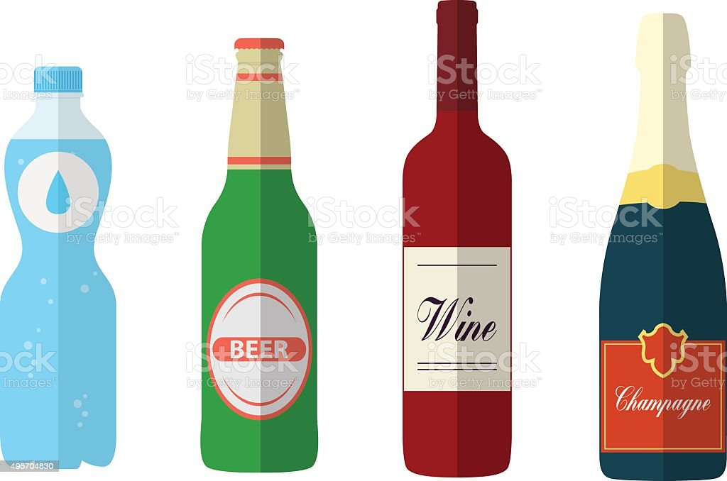 Flat bottles vector art illustration